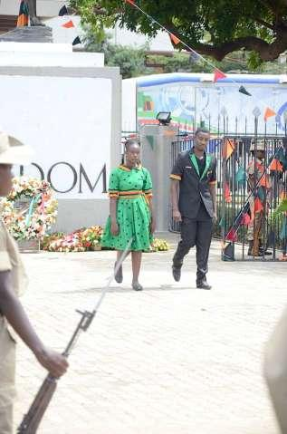 Acting President Ngosa Simbyakula officiates at Youth Day Celebrations at the Freedom Statue in Lusaka on March 12,2015