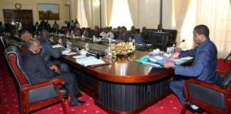 His Excellency Mr Edgar C. Lungu, President of the Republic of Zambia, chairing Cabinet Meeting at State House in Lusaka Zambia on Monday 16 March 2015. PHOTOS | EDDIE MWANALEZA