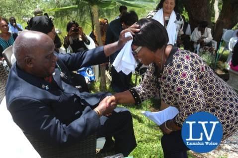 KK blessing Minister of Gender and Child Development Prof Nkandu Luo - Photo Credit Jean Mandela - Lusakavoice.com
