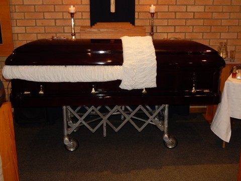 Late Mr. Willie Nsanda's casket
