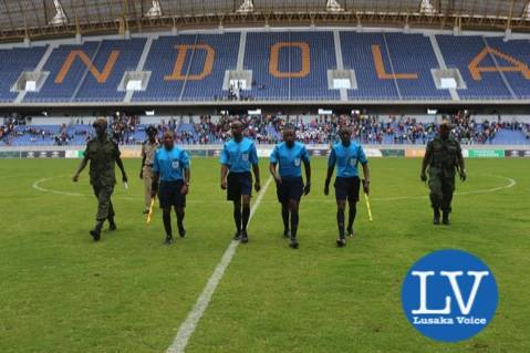 Match officials being escorted after the game - Photo Credit Jean Mandela - Lusakavoice.com