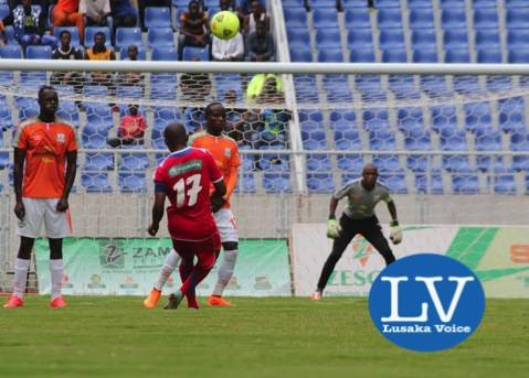 Mbabane player Tsabedze Tonny taking a free kick against ZESCO goal mouth Justin Zulu , Clatous Chama and GK Jacob Banda - Photo Credit Jean Mandela - Lusakavoice.com