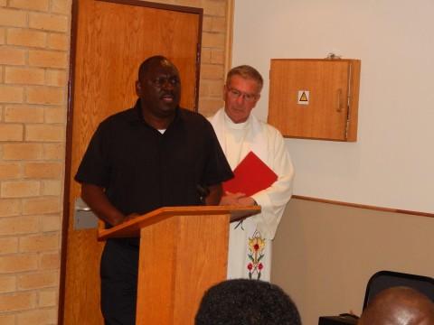 PF Secretary General, Mr. Davies Chama speaks at the church service - Credit - Nicky Shabolyo