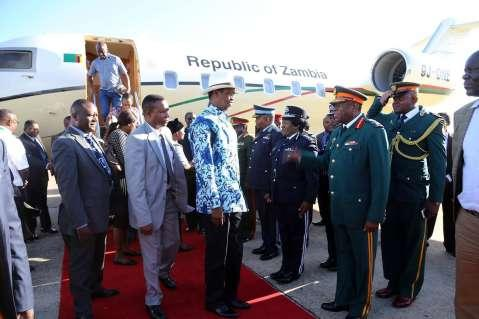 PRESIDENT LUNGU ARRIVES IN LUSAKA FROM SOUTH AFRICA IN PICTURES