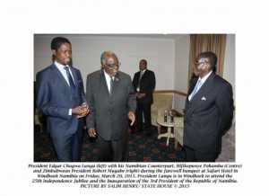 President Edgar Chagwa Lungu (left) with his Namibian Counterpart, Hifikepunye Pohamba (Centre) and Zimbabwean President Robert Mugabe (right) during the Farewell Banquet at Safari Hotel in Windhoek, Namibia on Friday, March 20, 2015