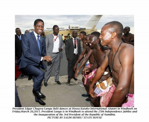 President Edgar Chagwa upon arrival at Hosea Kutako International Airport in Windhoek,Namibia on Friday, March 20, 2015. President Lungu is in Windhoek to attend to the 25th Independence Jubilee and the Inauguration of the 3rd President of the Republic of Namibia. PICTURES BY SALIM HENRY/ STATE HOUSE © 2015