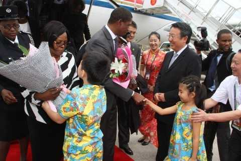 President Edgar Lungu on arrival at Sanya Phoenix International Airport for Boao forum in Hainan Province of China on March 27,2015 -Picture by THOMAS NSAMA