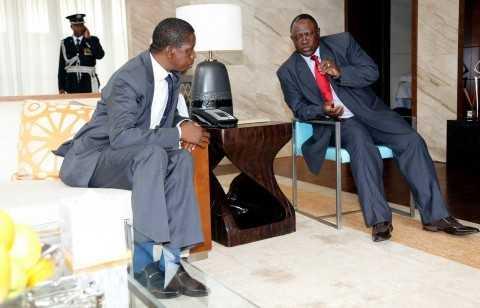 President Edgar Lungu talks to Zambia army Commander Lt Gen Paul Miyova of MGM Grand Hotel in Sanya ,China on Friday 27-03-2015 -PICTURE BY EDDIE MWANALEZA:STATEHOUSE.