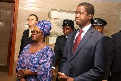 President Edgar Lungu with First Lady Esther Lungu arrives at Hong Qiao State Guest House in Shanghai, China on March 26,2015.