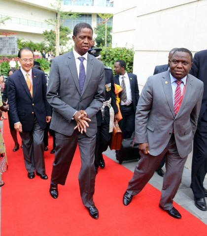 President Edgar Lungu with Mr Harry Kalaba Foreign affairs minister and Mr David Ying General Manager of MGM Grand Hotel in Sanya on Friday 27-03-2015 -PICTURE BY EDDIE MWANALEZA:STATEHOUSE.