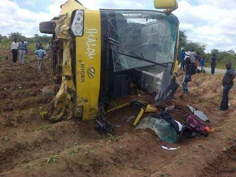 Shalom bus overturns somewhere in Batoka , Southern Province around 11:30 today. No deaths had been recorded