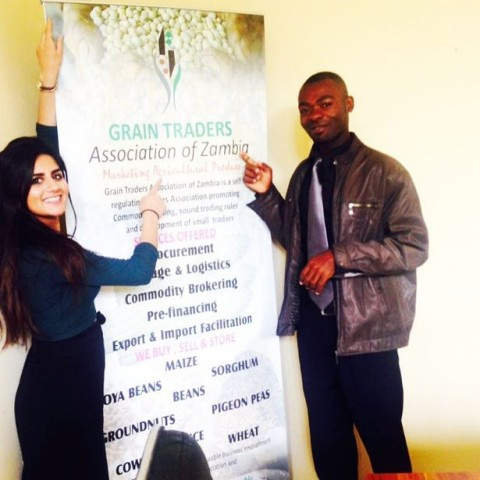 Sonia and her work partner Chanda who work for the Grain Traders Association of Zambia (GTAZ)