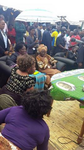 Vice President Hon. Inonge Wina with Tourism Minister Hon. Jean Kapata at Chifundo Market in Mandevu listening to marketeers concerns