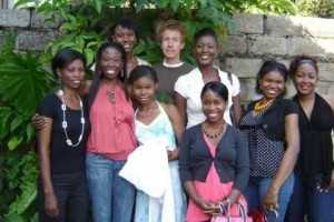 Violet Phiri (in white dress, fourth from right) with her family, including sister Zilose Lyons (second from left), brother-in-law Andy Lyons and sister Tamara Banda (second from right) in Lusaka, Zambia, in 2008.