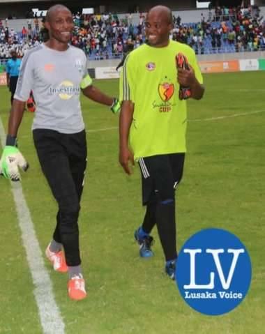 ZESCO GK Jacob Banda with Mbabane GK Nicho Francis - Photo Credit Jean Mandela - Lusakavoice.com
