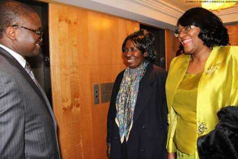 Zambia's Ambassador to the US His Excellency Mr. Palan Mulonda welcomes the Vice-President Her Honour Mrs Inonge Wina (centre) and Zambia's Ambassador to the UN Her Excellency Dr Mwaba Kasese-Bota (right) at New York Palace Hotel in New York on Sunday, March 8, 2015. The Vice-President is leading the Zambian delegation to the 59th Session of the Commission on the Status of Women. PHOTO   CHIBAULA D. SILWAMBA   ZAMBIA UN MISSION