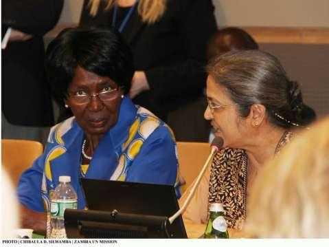 Zambia Vice-President Inonge Wina listening to development expert Gita Sen (right) during a panel discussion at UN HQ on 10 March, 2015. PHOTO | CHIBAULA D. SILWAMBA | ZAMBIA UN MISSION