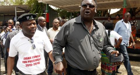 Willie Nsanda (with blacks glasses) and Steven Kampyongo at Mulungushi Rock - Photo Credit - The Post