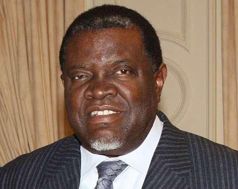 out-going Namibian President Hifikepunye Pohamba