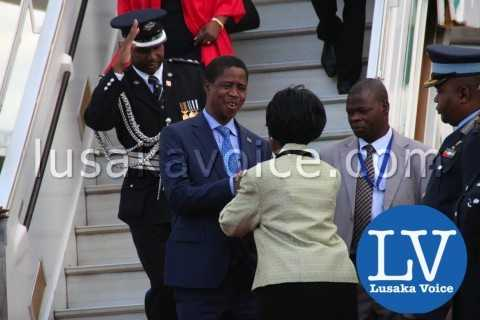 Edgar lungu's Arrival from China, greeted my Inonge WIna - Photo Credit Jean Mandela - Lusakavoice.com