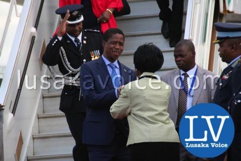 Edgar lungu's Arrival from China, greeted my Inonge WIna - Photo Credit Jean Mandela - Lusakavoice.com