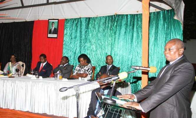 Former Bank of Zambia Governor Caleb Fundanga speaks at Zambia's Ambassador to Zimbabwe's residence in Harare where President Lungu addressed Zambia's living in Zimbabwe on April 29,2015 -Picture by THOMAS NSAMA