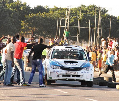 JASSY Singh is mobbed after his enthralling performance during the Pembe Milling motor rally qualifying stage