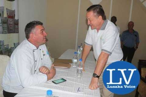 Newly appointed Lusaka Grand Hotel Executive Chef Eric Buitendjik and Superior Milling CEO Peter Cottan. - Photo Credit Jean Mandela - Lusakavoice.com