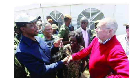 PRESIDENT Edgar Lungu (left) talks to former vice- president Guy Scott in Chisamba yesterday during the Agritech Expo Zambia 2015. Picture by SALIM HENRY/STATE HOUSE