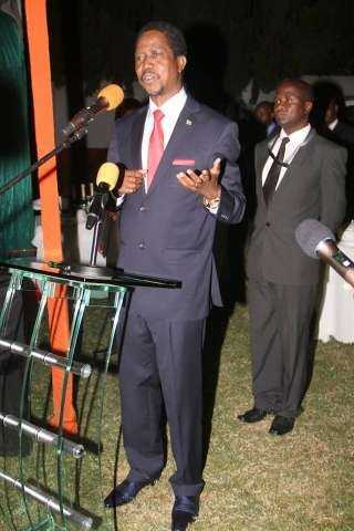 President Edgar Chagwa Lungu addresses Zambia's living in Zimbabwe at Zambia's Ambassador to Zimbabwe's residence in Harare on April 29,2015 -Picture by THOMAS NSAMA