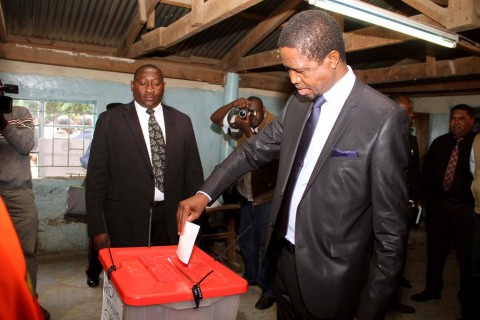 President Edgar Chagwa Lungu casts his vote at Andrew Mwenya Polling Station in Lusaka's John Howard Township on April 14,2015.