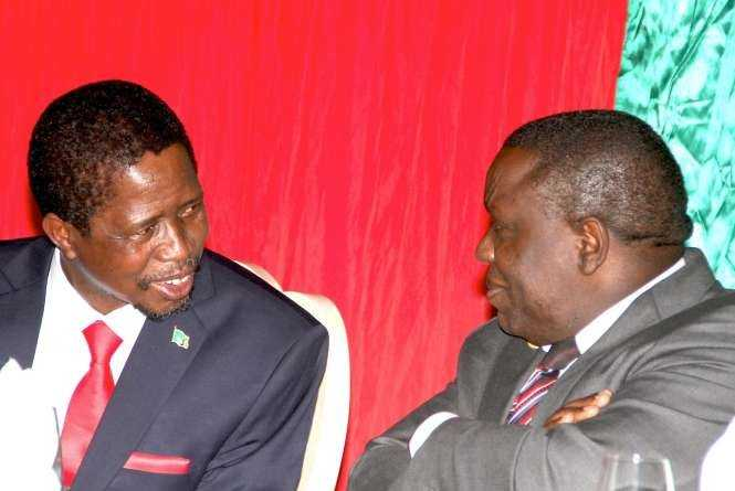 President Edgar Chagwa Lungu with Foreign Affairs minister Harry Kalaba at Zambia's Ambassador to Zimbabwe's residence in Harare where he addressed Zambia's leaving in Zimbabwe on April 29,2015 -Picture by THOMAS NSAMA