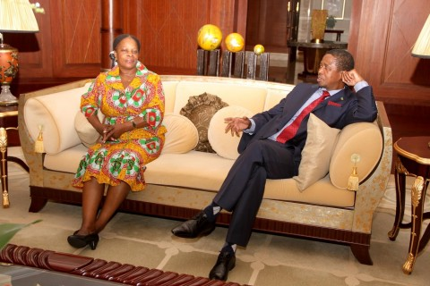 President Edgar Lungu with First Lady Esther Lungu at Hong Qiao State House Guest Hotel in Shanghai before departure for Lusaka on April 1,2015 -Picture by THOMAS NSAMA