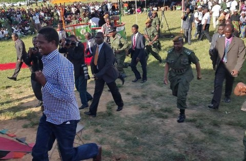 Republican President Edgar Chagwa Lungu jogging back to the Presidential Podium after he went down to the Tents to greet the People of Masaiti at the Masaiti Boma.