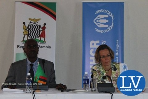 UNHCR Representative to Zambia, flanked by the Commissioner for Refugees in the Ministry of Home Affairs, Mr. Jacob Mphepo. - Photo Credit : Kelvin Shimo UNHCR