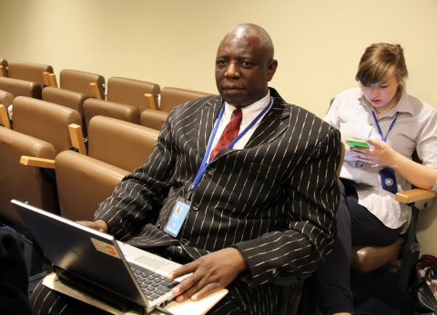 University of Zambia Assistant Dean - Research and Professor of Demography Jacob Malungo at the 48th Session of the Commission on Population and Development at UN HQ 14-April-2015. PHOTO | CHIBAULA D. SILWAMBA | ZAMBIA UN MISSION