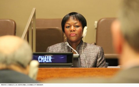 Zambia's Deputy Permanent Representative to the UN Christine Kalamwina chairing the 48th Session of the Commission on Population and Development at UN HQ on 14 April 2015. PHOTO | CHIBAULA D. SILWAMBA | ZAMBIA UN MISSION