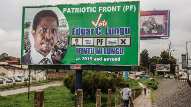 A billboard for Edgar Lungu in Lusaka on January 19, 2015 ahead of the presidential .