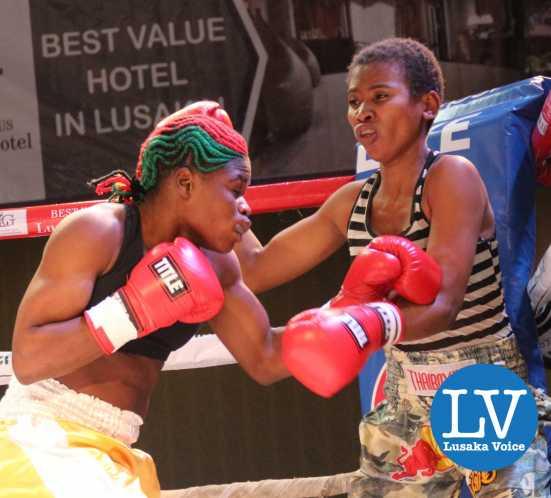 Bantam Weight female International non title  Exodus Stable Kasweka Lina vs Tanzania Fatuma Yazadi; Lina won by a knock out.  Referee Mable Mulenga