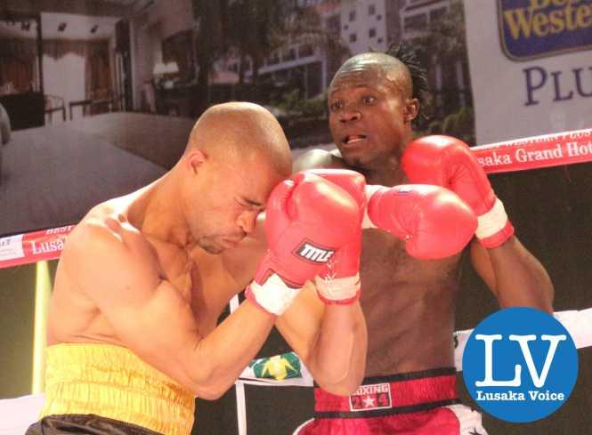 Welter Wight International non title Exodus Sherrif Kasongo  (with dreads) vs Zimbabwe Asilas Mandeya ; Kasongo won via a knock out