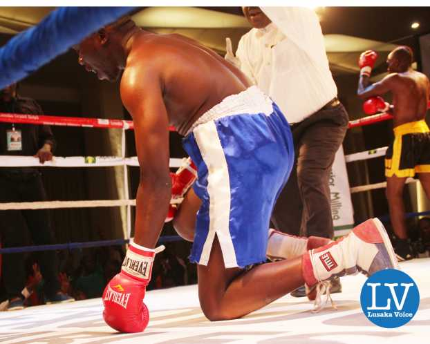 Middle Weight International non title Exodus stables Babeguy Chimanga (in a black and yellow short) vs Zimbabwe Admos Takavura , Babeguy won via a knock out.