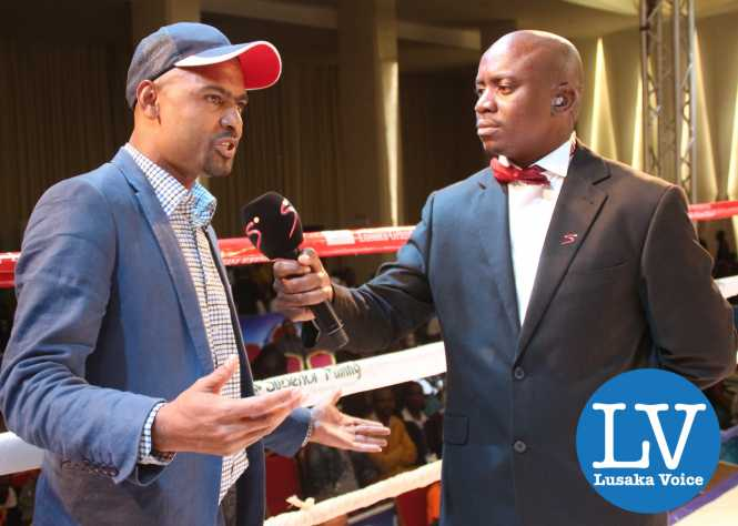 Minster Vincent Mwale being interview by Franklin Tembo Jnr before Esther Phiri vs Sandra Almeida fight