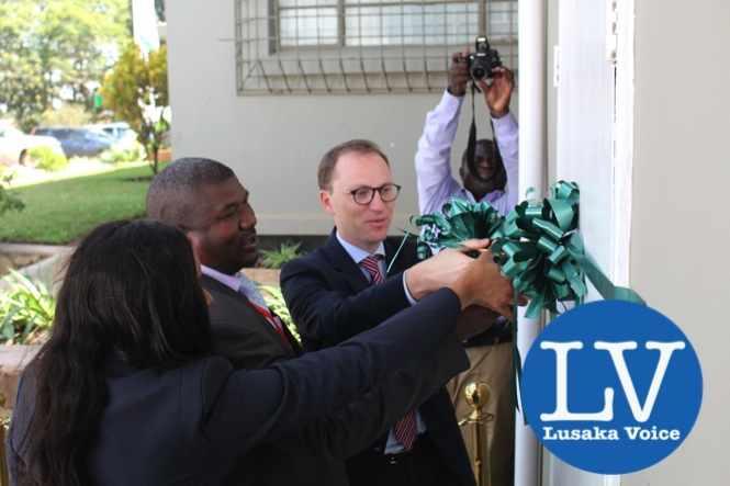 L-R Lafarge Zambia CFO, Mrs Chrissie Moloseni, Lafarge CEO, Mr Emmanuel Rigaux, Chilanga District Administration officer Mr Freza Musonda - Photo Credit Lafarge Zambia- Lusakavoice.com