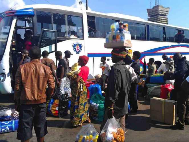 Lusaka intercity bus terminus.