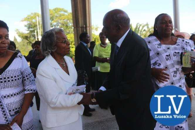 Minister Alexander Chikwanda and late Liwewe's wife Sylvia Liwewe after the memorial service at the Anglican Holly Cross Cathedral  - Photo Credit Jean Mandela - Lusakavoice.com