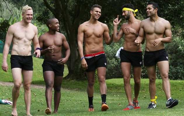 Mr Gay South Africa Craig Maggs; Mr Zambia, Siyathokoza Thabani Khumalo; Mr Iceland Troy Michael Jonsson; Mr Spain Jesus Martin Marquez; and Mr Dominican Republic Alejandro Torres-Solanot. Image by- ESA ALEXANDER