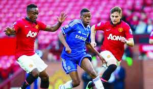 Young Chelsea star Charly Musonda runs at the heart of the Man United defence on his way to scoring during the Under 21 Premier League final last week. Picture courtesy DAILYMAIL-UK