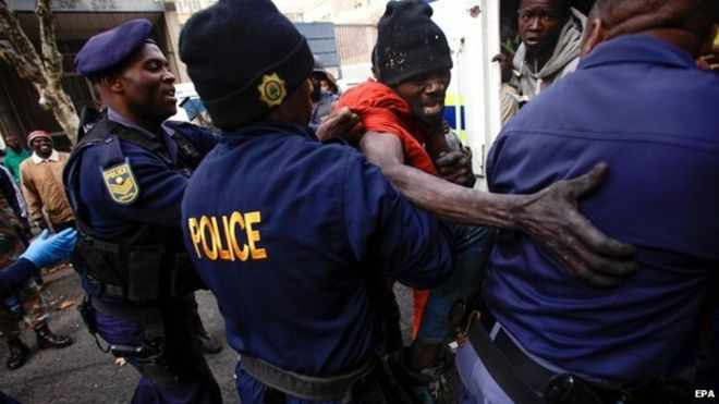 Police in Johannesburg have detained a number of foreigners after raids on buildings in the city