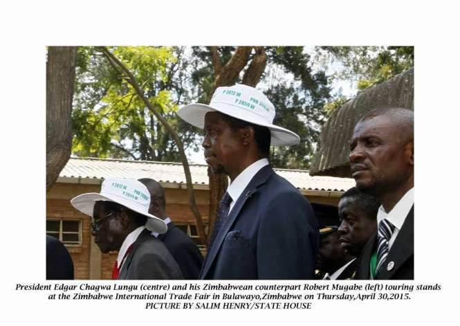 President Edgar Chagwa Lungu (right) and his Zimbabwean counterpart Robert Mugabe touring stands at the Zimbabwe International Trade Fair in Bulawayo, Zimbabwe on Thursday, April 30,2015. PICTURE BY SALIM HENRY/STATE HOUSE ©2015
