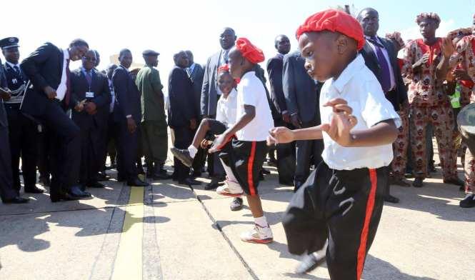 President Edgar Chagwa Lungu (right) welcomes his Sierra Leone counterpart Ernest Bai Koroma at David Livingstone Safari Lodge in Livingstone, Zambia on Friday, May 8,2015.PICTURE BY SALIM